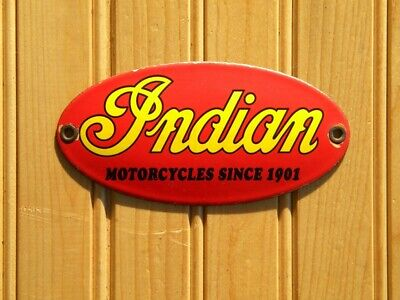 VINTAGE INDIAN MOTORCYCLES PORCELAIN SIGN CHIEF SCOUT ROADMASTER OIL SPRINGFIELD