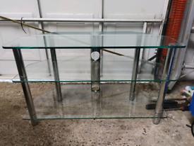 Clear Glass & Chrome 3 Shelf TV Stand - FREE