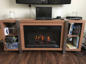 Wooden electric fireplace/tv stand