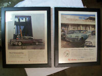 1958 OLDSMOBILE + 1958 BUICK Framed original advertising