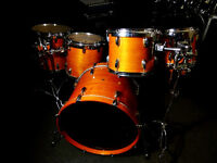 Awesome Full Maple Drum Kit w/Keller Shells & RIMS System in Thru Amber