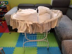 Baby Bassinet with free matching crib covers for side protection