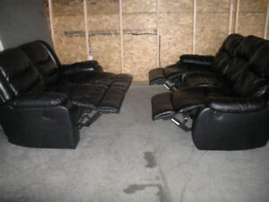 RECLINER BLACK LEATHER COUCH, LOVE SEAT& CHAIR. FREE DELIVERY