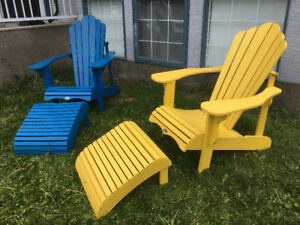 2 Polyetheline Adirondack Chairs with Foot Rests Like NEW