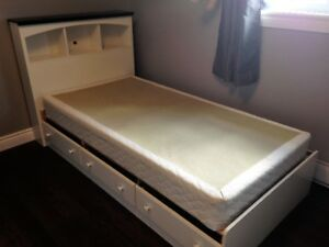 FS Twin mates bed, bookcase headboard and box spring