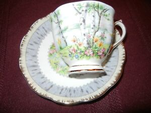 ROYAL ALBERT SILVER BIRTCH TEA CUP AND SAUCER