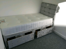 Brand New 3ft (single) Crushed Velvet bed and headboad