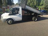 2008 EX BT FORD TRANSIT 350 MWB TIPPER.BRAND NEW BODY. TWIN WHEEL.WHITE DIESEL