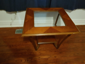 Glass topped side or coffee table