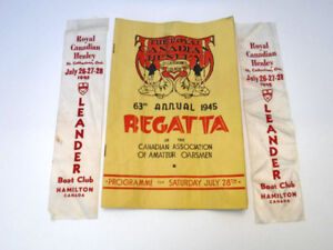 ROYAL CANADIAN HENLEY REGATTA RIBBONS LEANDER BOAT CLUB 1945