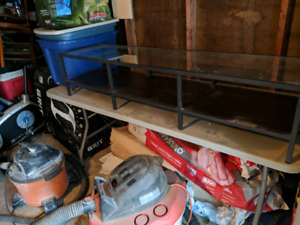 Metal tv component cabinet with glass top
