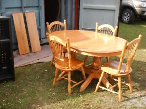Solid Maple Dining Table/Chairs/Corner Hutch (will separate)
