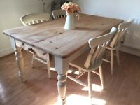 Charming Rustic Reclaimed Pine Farmhouse Table and 4 or 6 chairs with huge drawer