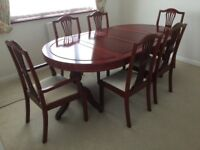 Extendable double pedestal dining table with 2 carvers and 4 chairs solid Chinese Rosewood