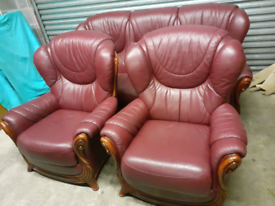 Oxblood Leather 3 Seater Sofa & 2 Chairs (EXCELLENT CONDITION)