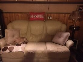 Cream leather sofa and 2 chairs for sale