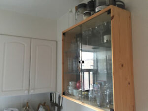 Kitchen wall hanging storage unit (wood & glass)