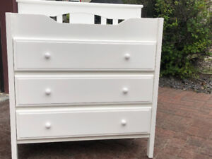 White Nursery Change Table with 3 Drawers