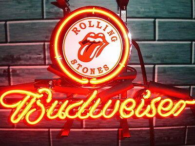 "New Budweiser Rolling Stones Beer Neon Light Sign 14""x10"""