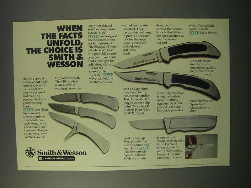 1981 Smith & Wesson Knives Ad - The Facts Unfold