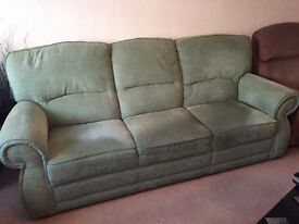3 SEATER & 2 SEATER UPHOLSTERED GREEN SOFAS