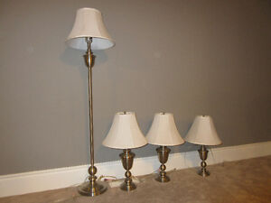Classic Brushed Table and Floor Lamp Set