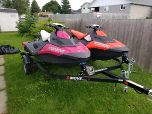 Pair of Seadoo Sparks with trailer