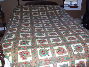 Homemade Machine Stitched Reversible Queen Size Quilt