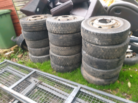 Job lot lorry wheels and tyres 6 and 8 stud various