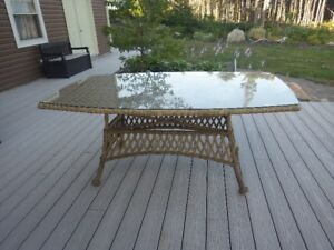 Patio table with glass