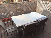 Glass Rattan Outdoor Table Setting 6 Seats