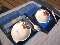 Lo of 2 Carlton Ware small dishes relish jam with spoon & knife