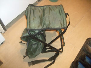 Folding knap sack chair/stool  + camouflage folding stool