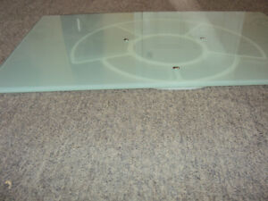 Rotating Glass Table Top TV Stand