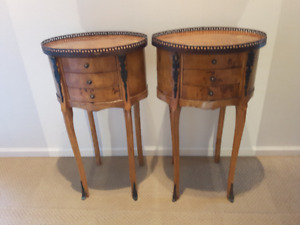 19th Century pair of French nightstands Empire influenced tables