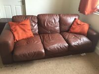 3 Seater Brown Leather Look Sofa £10 Ono