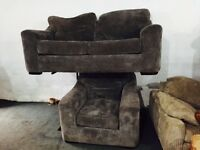 Grey fabric 2 and 1 sofa set