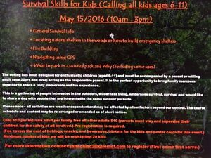 Survival course for kids ages 6-11 in stony plain area