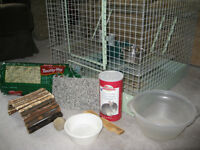 "Chinchilla/small pet cage and ""starter kit"" accessories"
