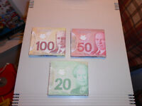 lot of 3 Wallet Portefeuilles 20$ - 50$ - 100$ Canadian canada..