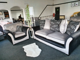 NEW Atmos 3 Seater + Armchair Black Grey Velvet DELIVERY AVAILABLE