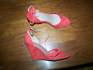 Sandales orange, talons compenses, taille 10, just fab, talons 3