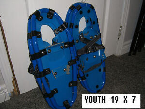 "SNOWSHOES ""NEW NEVER USED"" 2 PAIR YOUTH 19"" X 7"" UP TO 90 LBS  T"