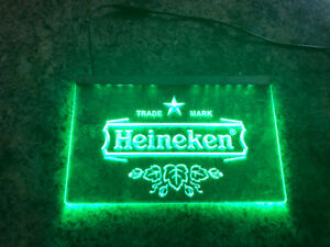 Heineken Green LED hanging sign - perfect for man cave or bar!