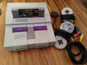 SNES with two controllers and Street Fighter 2