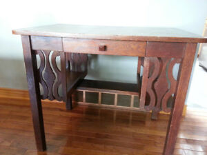 Old Wood Desk - Mission Style with side shelves and drawer