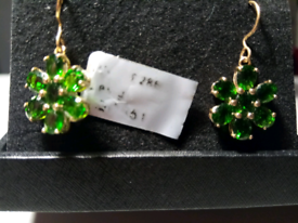 PAIR OF NEW, RUSSIAN GREEN CHROME DIOPSIDE ,FLOWER DROP EARRINGS