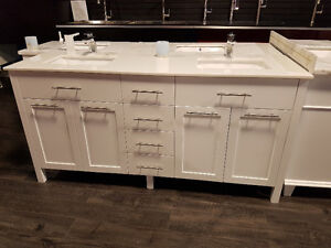 "72"" SOLID WOOD Vanity with Quartz Countertop - Hot Deal!"