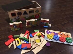 Kid Connection Wooden Box with Blocks, Shapes and more.