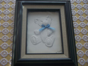 Shadow Box Cast Paper Teddy Bear Sculpture by Rod Peters